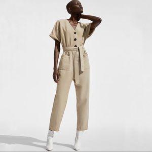 Zara Basic Linen Blend Jumpsuit